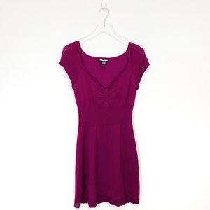 Planet Gold Purple Short Sleeve Sweater Dress